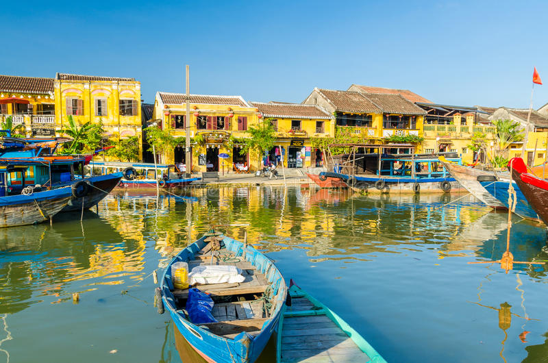 Hoi An during mid day. View on the pier stock images