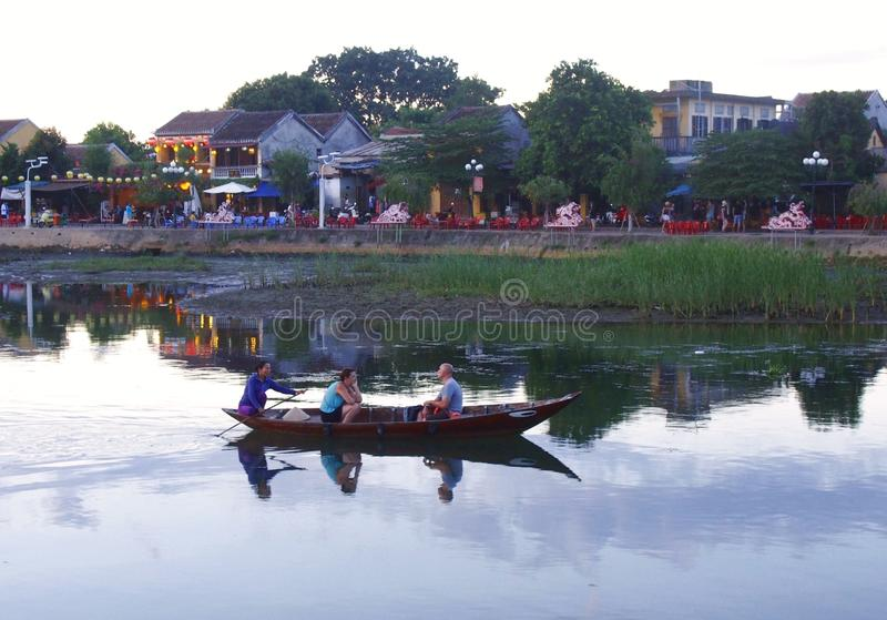 Hoi An Old Town Houses e fiume nel Vietnam immagini stock