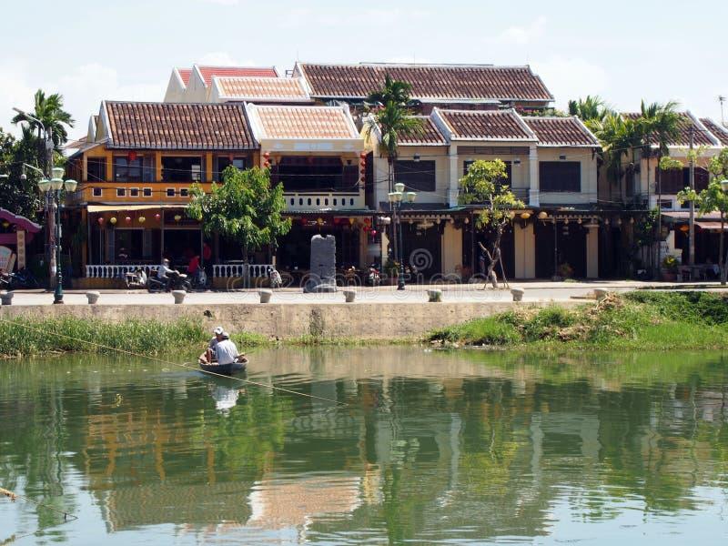 Hoi An Old Town Houses och flod i Vietnam royaltyfria foton