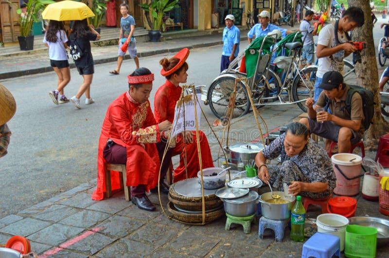Hoi An Old Town Street-Voedselbox royalty-vrije stock afbeeldingen