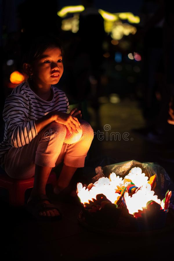 Hoi An Vietnam 19 1 19: Festival famoso de Latern no fullmoon na cidade velha da matiz fotografia de stock royalty free