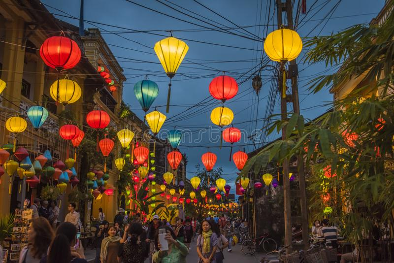 Lanterns hanging above the streets of Hoi An`s ancient town, in Vietnam. royalty free stock image