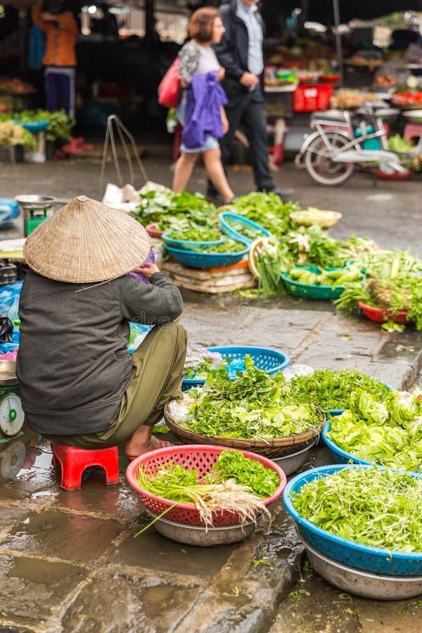 HOI WIETNAM, STYCZEŃ, - 03, 2019: Świezi warzywa w tradycyjnym ulicznym rynku w Hoi Wietnam obraz royalty free