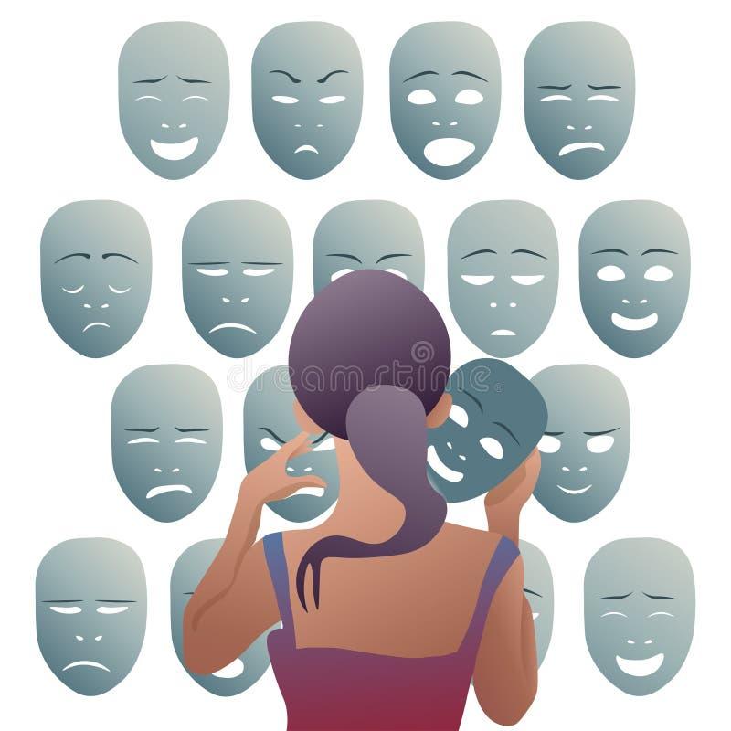 Hoice de las máscaras para el hoy stock de ilustración