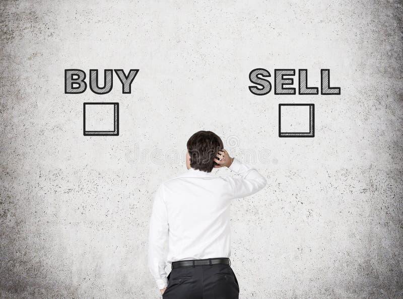 Hoice mellan köpet och försäljning royaltyfri foto
