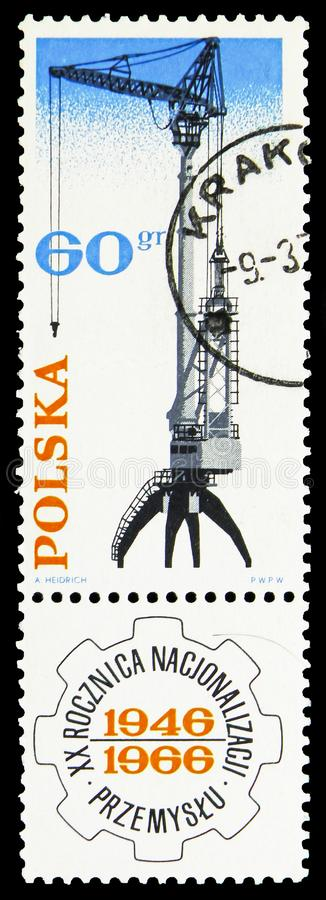 Hoist, Nationalization of Polish Industry, 20th Anniversary serie, circa 1966. MOSCOW, RUSSIA - SEPTEMBER 15, 2018: A stamp printed in Poland shows Hoist royalty free illustration
