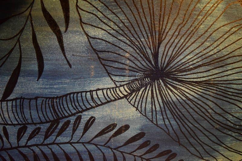 Hoja abstracta Art Graphic Pattern Style Decoration en fondo retro ilustración del vector