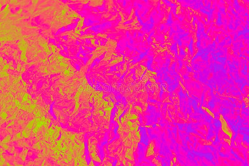 Hoja arrugada color olográfico del fondo del extracto Textura de moda Textura coloreada de neón para su diseño ilustración del vector