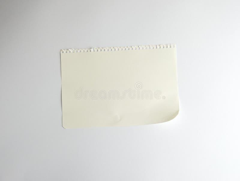 Hoja blanca rectangular vac?a rasgada de la libreta imagen de archivo libre de regalías