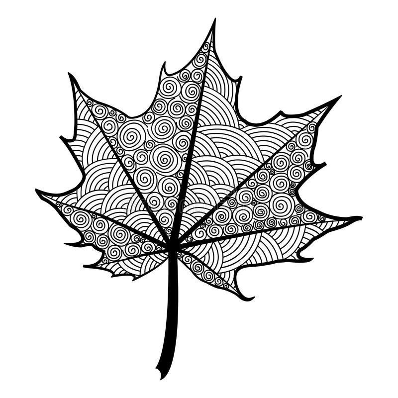 Hoja blanco y negro de Zentangle del arce del árbol ilustración del vector