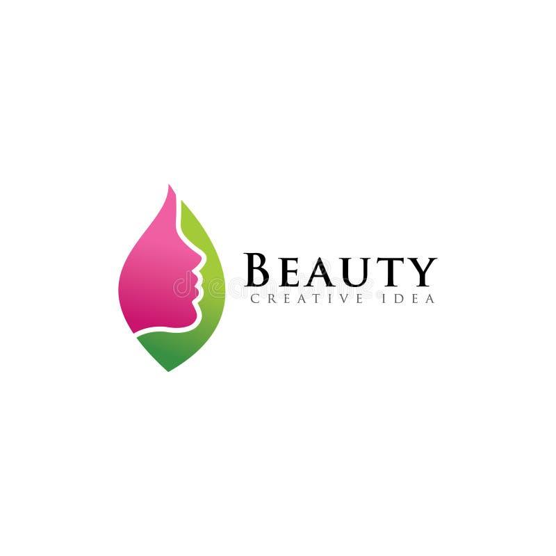 Hoja con el logotipo de la belleza de las mujeres de la cara stock de ilustración