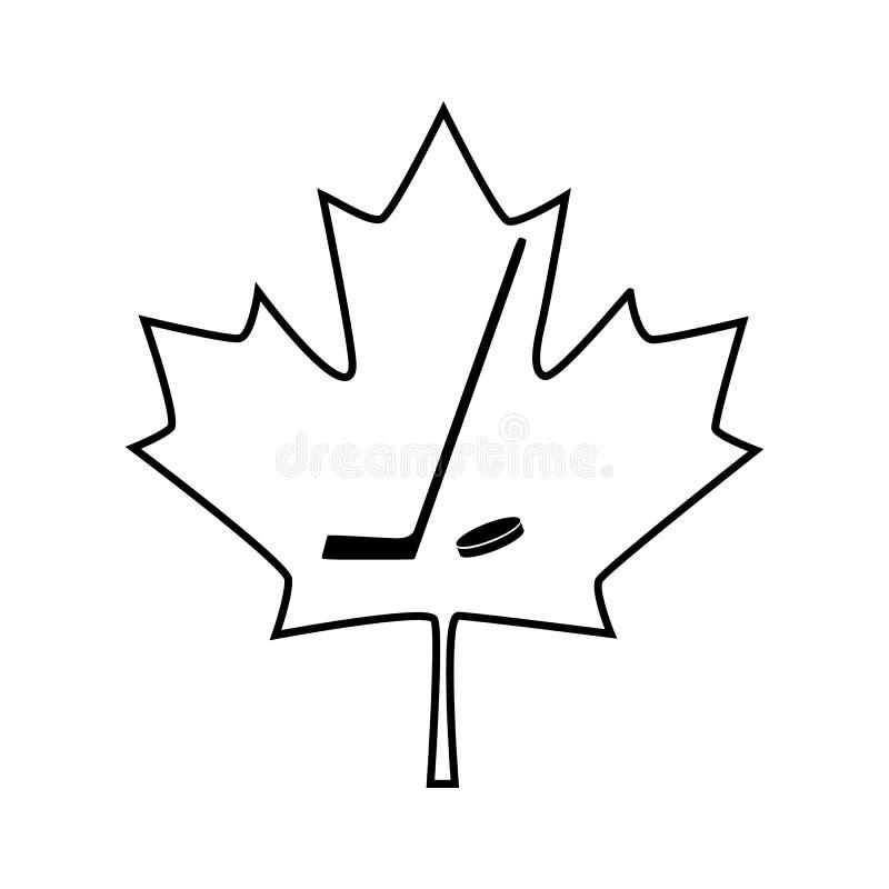 Hoja de arce canadiense con el icono del palillo de hockey Ilustración del vector stock de ilustración