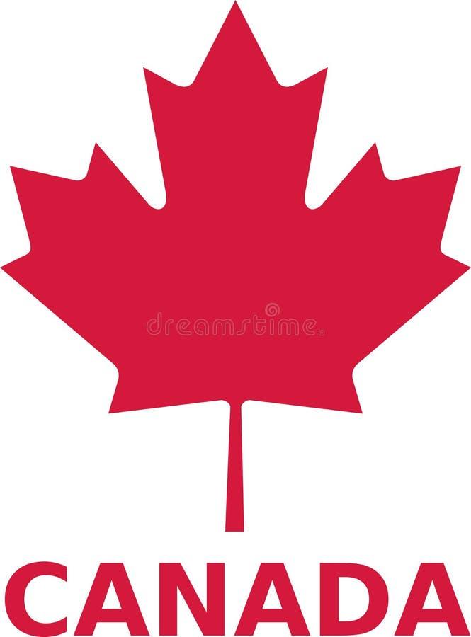 Hoja de arce con la palabra de Canadá stock de ilustración