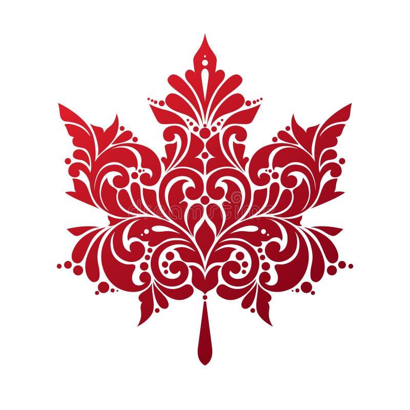 Hoja de arce roja adornada en el fondo blanco ilustración del vector