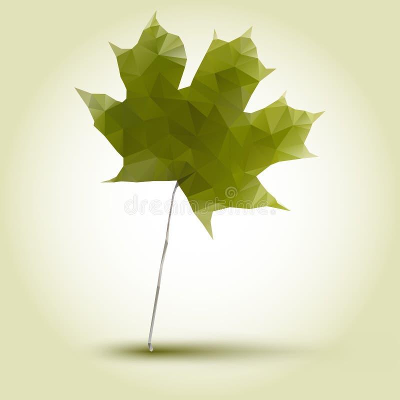 Hoja de arce verde poligonal ilustración del vector