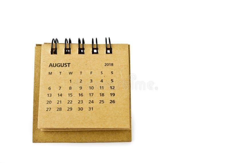 Hoja de August Calendar en blanco imagenes de archivo