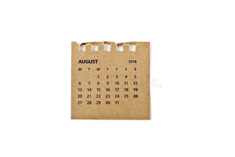 Hoja de August Calendar en blanco fotografía de archivo libre de regalías