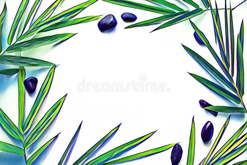 Hoja de bambú con el guijarro de la costa Endecha tropical del plano del marco Fondo del viaje del vintage ilustración del vector