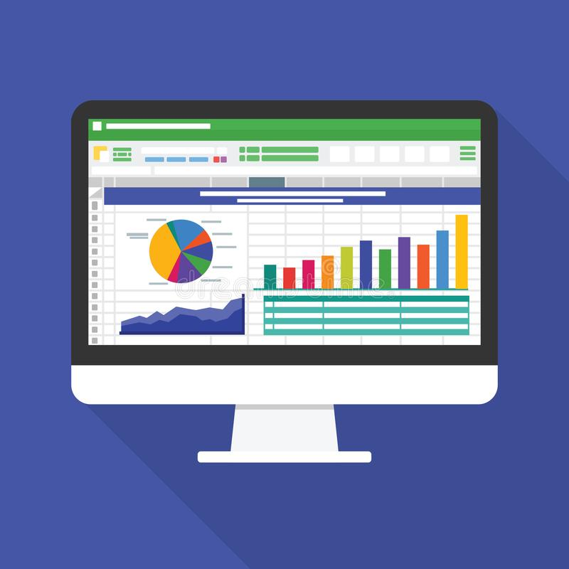Hoja de cálculo en icono plano de la pantalla de ordenador Concepto del informe de la contabilidad financiera cosas de la oficina ilustración del vector