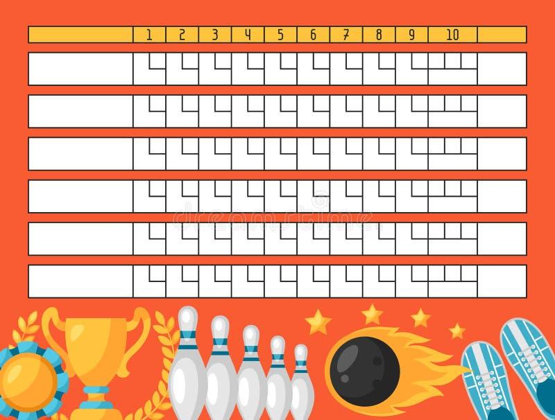 Hoja de la cuenta de bolos Marcador en blanco de la plantilla con los objetos del juego ilustración del vector