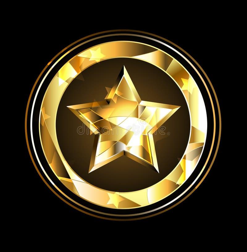 Hoja de la estrella del oro ilustración del vector