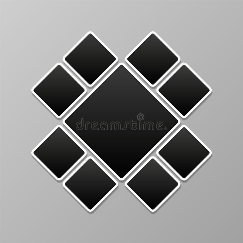 Hoja de la foto collage Plantilla de los marcos Maqueta abstracta del montaje de la imagen Fondo del vector de las fotos ilustración del vector