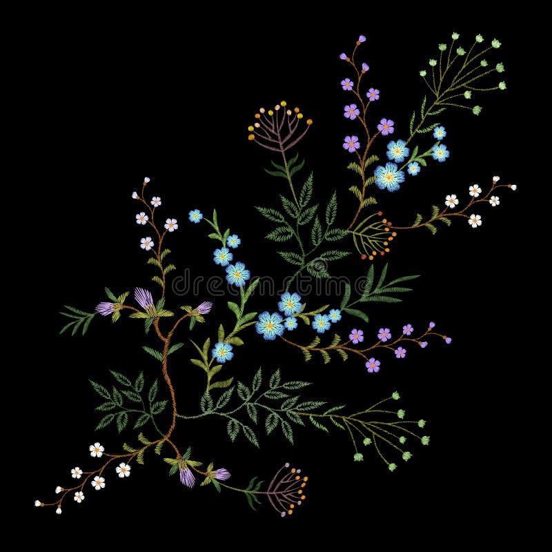 Hoja de la hierba de las ramas del estampado de flores de la tendencia del bordado pequeña con poca flor violeta azul DES tradici ilustración del vector