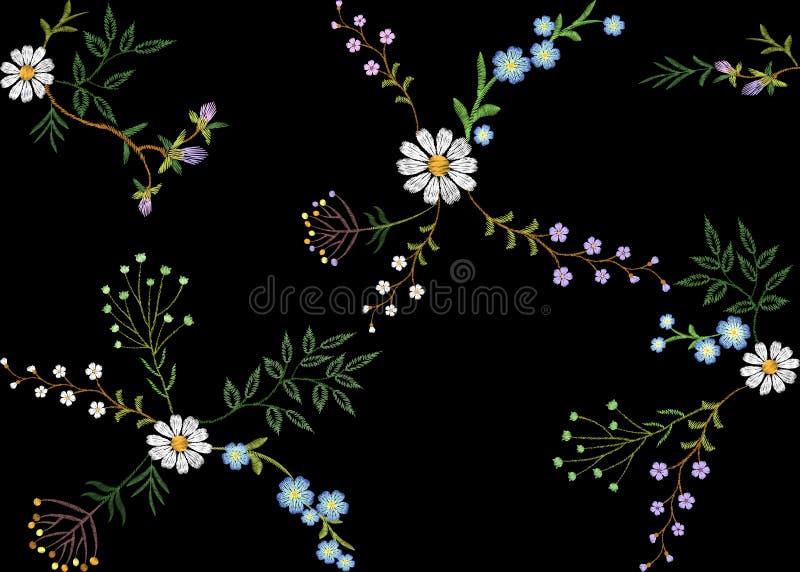 Hoja de la hierba de las ramas del modelo inconsútil floral de la tendencia del bordado pequeña con poca manzanilla violeta azul  libre illustration