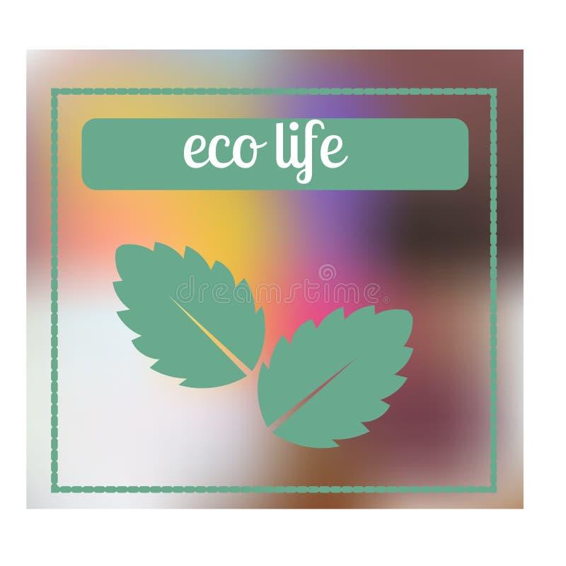 Hoja de la menta fresca Logotipo de la vida de Eco Bandera para los productos herbarios de la naturaleza libre illustration