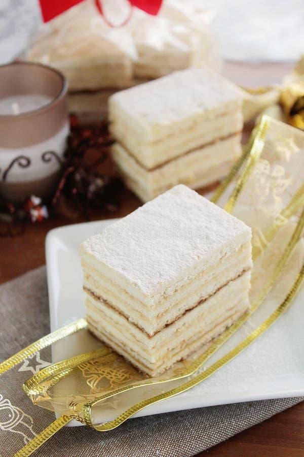 Hoja de la miel y torta de la crema de la sémola imagen de archivo