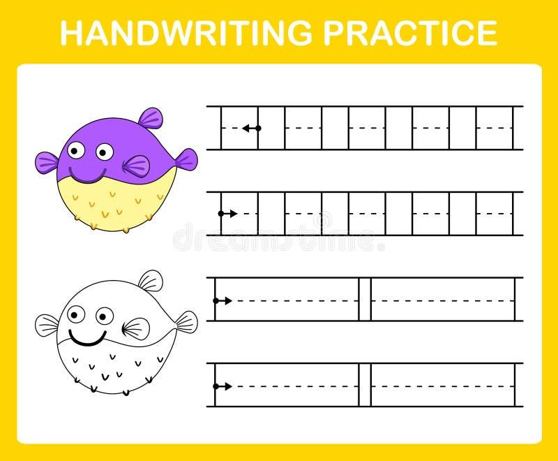 Hoja de la práctica de la escritura libre illustration