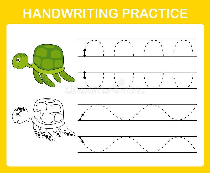 Hoja de la práctica de la escritura stock de ilustración