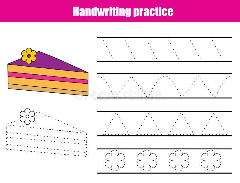 Hoja de la práctica de la escritura Juego educativo de los niños, hoja de trabajo imprimible para los niños Líneas de traza, triá ilustración del vector