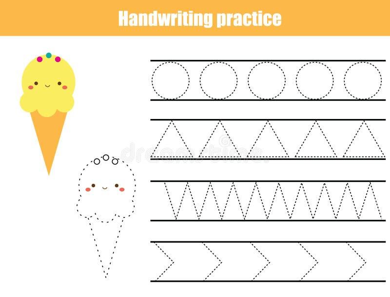 Hoja de la práctica de la escritura Juego educativo de los niños, hoja de trabajo imprimible para los niños Líneas de traza y for ilustración del vector