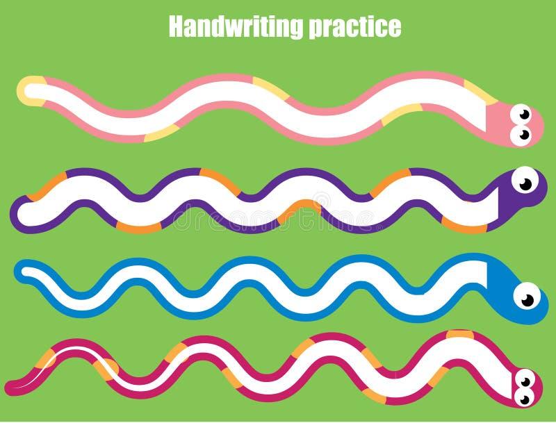 Hoja de la práctica de la escritura Juego educativo de los niños, hoja de trabajo imprimible para los niños Serpientes y líneas o ilustración del vector