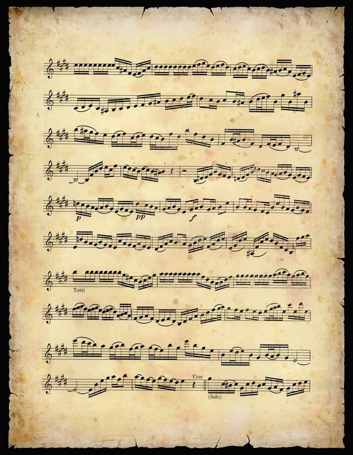 Hoja de música de la vendimia fotografía de archivo