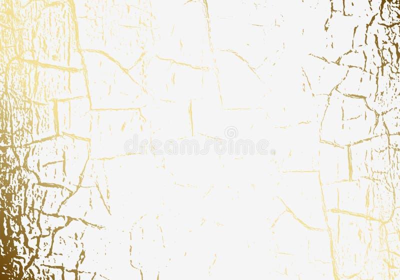 Hoja de oro agrietada de la textura del mármol del vector pátina Rasguño del oro Fondo blanco ligero sutil del día de fiesta Enca libre illustration