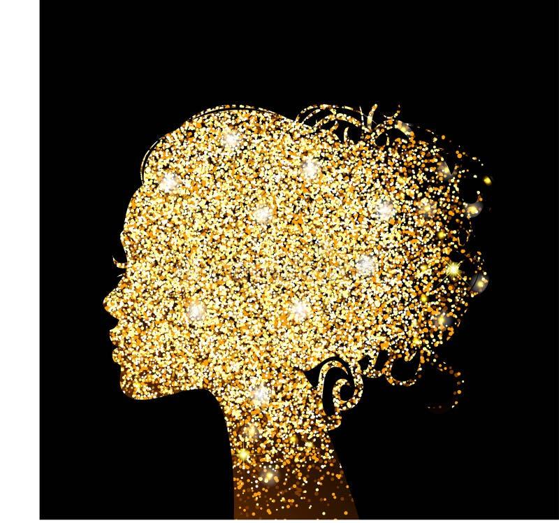 Hoja de oro hermosa de la textura del oro de la silueta de la muchacha Ejemplo hermoso para la belleza Vector ilustración del vector