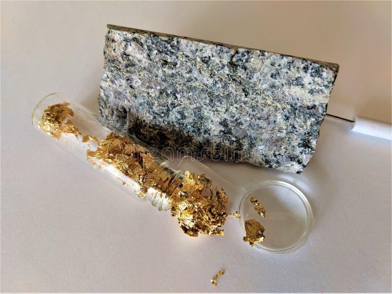 Hoja de oro y mineral del oro imagenes de archivo