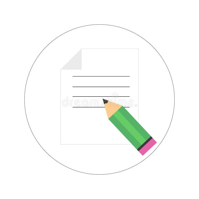 Hoja de papel aislada con el lápiz Ilustración del vector fotos de archivo libres de regalías