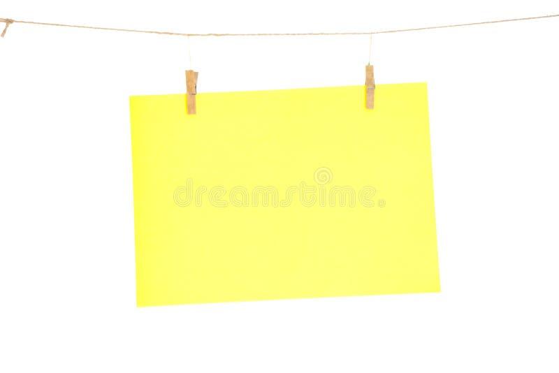 Hoja de papel amarilla foto de archivo