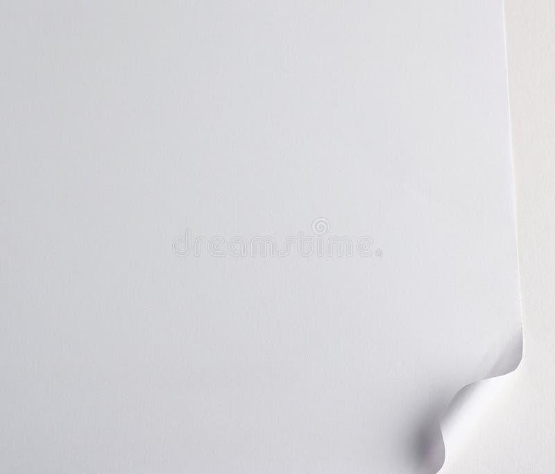 hoja de papel blanca en blanco con una esquina curvada imagen de archivo