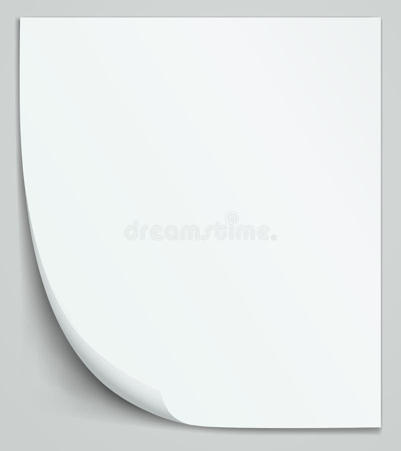 Hoja de papel blanca en blanco. Layo vertical del cuaderno ilustración del vector