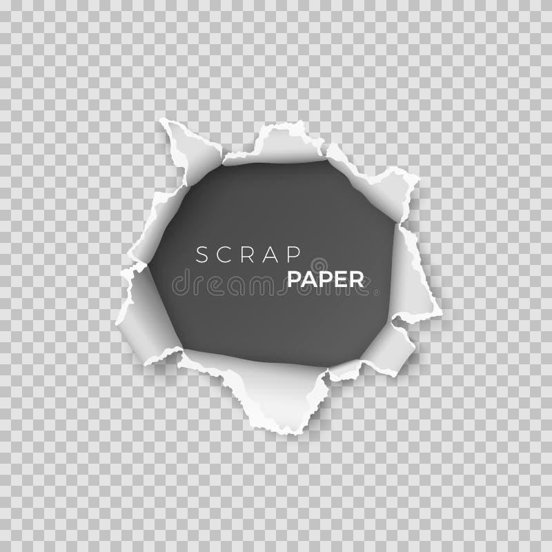 Hoja de papel con el agujero dentro Página realista de la plantilla del papel de pedazo con el borde áspero para la bandera Vecto stock de ilustración