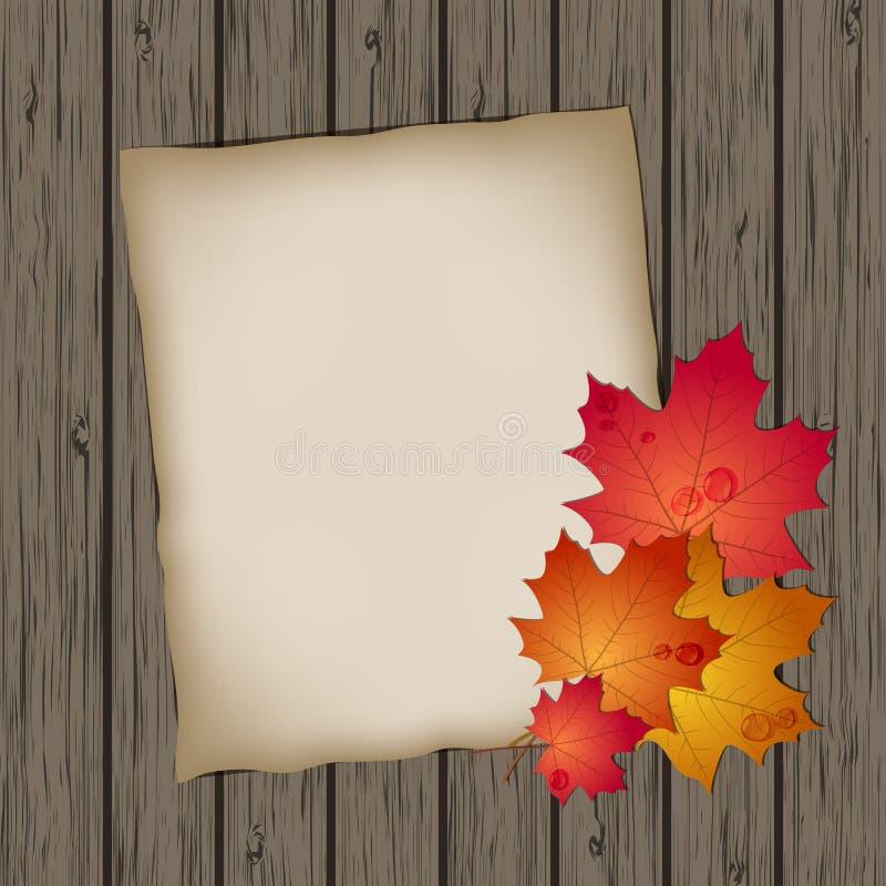 Hoja de papel con las hojas de otoño ilustración del vector
