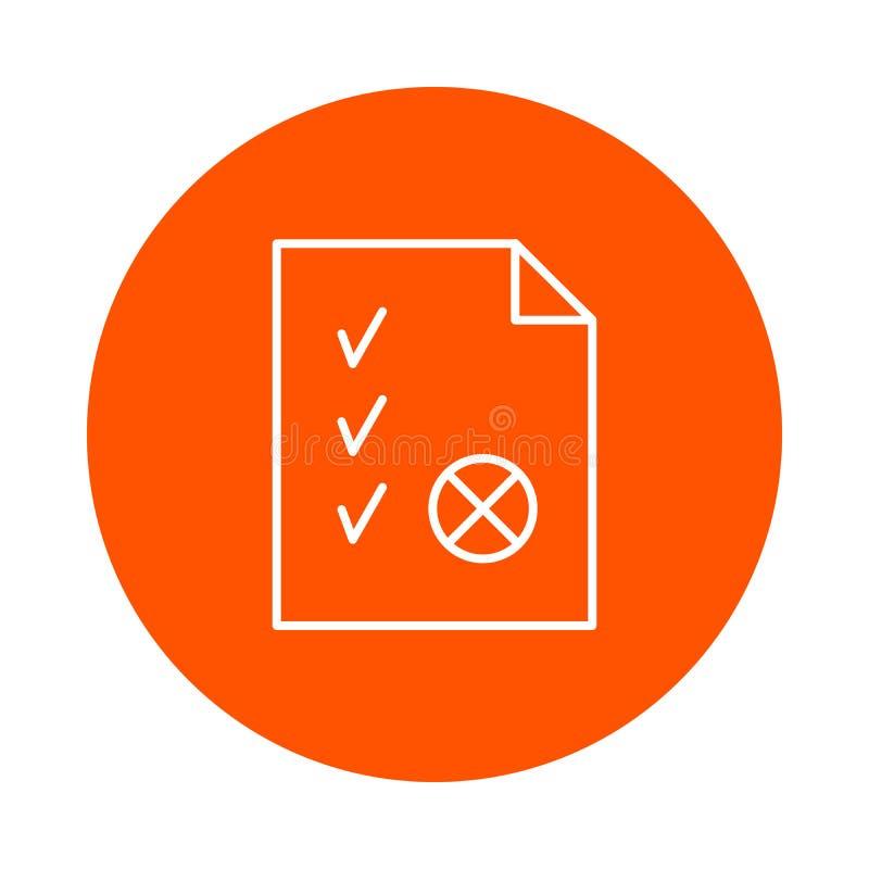 Hoja de papel con una esquina doblada, señales y un sello, un icono redondo monocromático, un estilo plano stock de ilustración