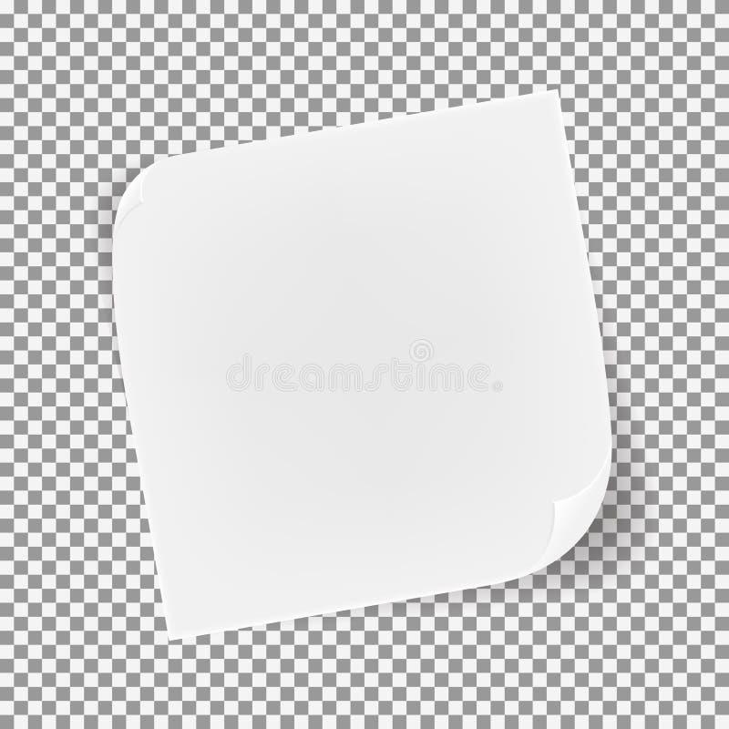 Hoja de papel curvada realista del vector stock de ilustración