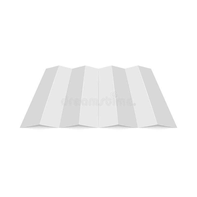 Hoja de papel doblada blanca de la maqueta vacía, soporte del espacio en blanco de la opinión de perspectiva para el folleto cuád ilustración del vector