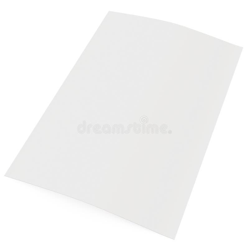 Hoja de papel en blanco aislada en el fondo blanco stock de ilustración