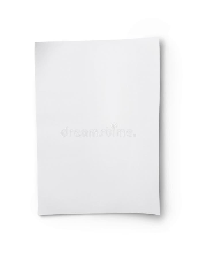 Hoja de papel en blanco blanca imágenes de archivo libres de regalías